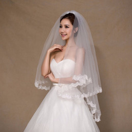 In Stock 1.5 Meters Two Layers Lace Wedding Veil With Comb Short Bridal Veil White Ivory Voile Marriage Wedding Accessories CPA858