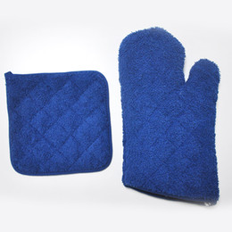 Wholesale Kitchen Gadgets Kitchen Cooking Gloves Microwave Oven Cotton Glove Non slip Heat Resistant blue free shopping