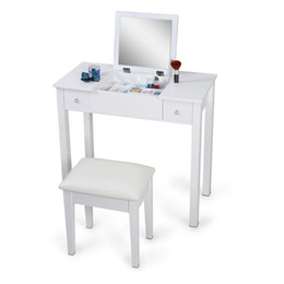 Wholesale White Mirrorred Makeup Desk Vanity Table Cosmetics Storage Organizer Desk with Vanity Stool USA Stock