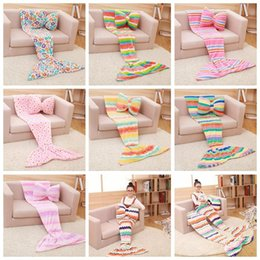 Wholesale Mermaid Blankets Butterfly Pillow Sets Baby Mermaid Tail Blanket Kids Sleep Bags Nap Sofa Blankets Bedding Living Room Bedroom Blankets F321
