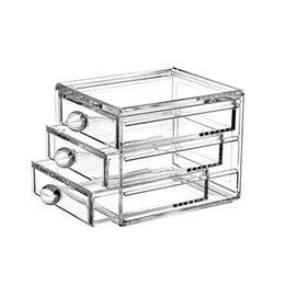 Wholesale New Arrival Clear Desktop Acrylic Cosmetic Plastic Storage Organizer Box With Drawer Jewelry Lipstick Three Layers