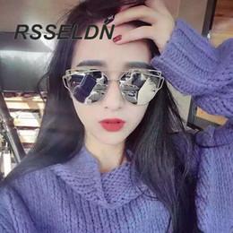 2017 or gros cadres lunettes Vente en gros-RSSELDN 2016 Lunettes de soleil Oeil de chat Femmes Vintage Mode Rose Or Miroir Lunettes de Soleil Metal Frame Lunettes de soleil Femmes Femme or gros cadres lunettes à vendre