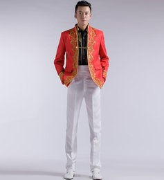 Wholesale-Free shipping white black red colors wedding groom tuxedo suits embroidery applique suit men gold suits Suit jacket + pants
