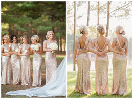 2017 Sparkly Rose Gold Mermaid Bridesmaid Dresses Short Sleeve Sequins Backless Long Beach Wedding Party Gowns Gold Champagne