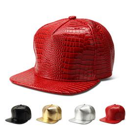 Descuento sombreros de béisbol en blanco snapback Ajustable DIY en blanco sombreros de la PU hip hop snapback gorras de béisbol crocodilo patrón sombreros bordes planos unisex deportes gorras para las mujeres hombres sombreros casuales