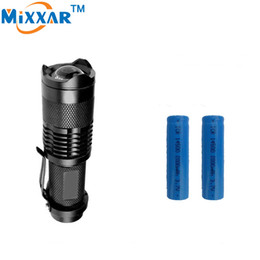 1000LM LED Flashlight CREE Q5 Mini Zoomable Bicycle Light LED Bike Light Power Front Torch 3 Modes Zoomable High Light +2*Battery