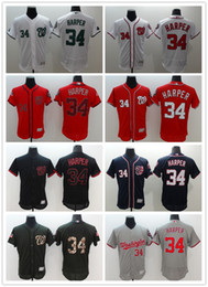 2017 gros national Vente en gros Washington Nationals 34 Bryce Harper Maillots de Baseball Camo Noir Bleu Rouge Blanc Gris 34 Bryce Harper Jersey Accepter Mix Commandes bon marché gros national