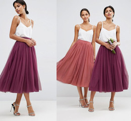 Cheap Tulle Midi Skirts For Women High Waist Tea Length Multi Layers Wedding Bridesmaid Beach Skirts Prom Party Maxi Formal Skirts