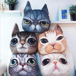 Wholesale Creative D Shaped Grumpy Cat Face Design Throw Plush Cotton Car Cushion Pillow Case Animal Head Shaped Pillow Without Filler