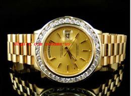 Montre-bracelet de luxe Pre-Owned Mens 41MM Président Day-Date 18k jaune or Diamond Watch Automatique Montres pour hommes Montres de haute qualité à partir de pré en propriété fabricateur