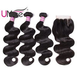 UNice Hair 8A Virgin Body Wave Brazilian Bundles With Closure Human Hair Extensions Remy Unprocessed Human Hair Wefts With Closure Wholesale