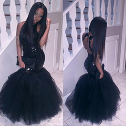 Wholesale Black Girl Plus Size Mermaid African Prom Dresses Long Tulle Sequined Sexy Backless Formal Evening Gowns Cheap Cocktail Party Dress
