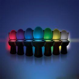 Toilet Night Light LED Sensor Motion Activated Toilet Bathroom Washroom Night Lamp Toilet Bowl Light Sensor Seat Nightlight