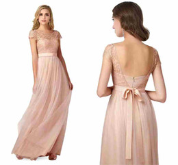 2017 New Bohemian Blush Bridesmaid Dresses Cheap Fairy Style Summer Beach Maid of Honor Gowns Cap Sleeve with Satin Belt Prom Gowns CPS221