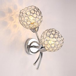 Wholesale LED Crystal Wall Lamp Bedside Sconce Lights Stainless steel Ball Lamp V V E27 Wall Lights For Bedroom Decor