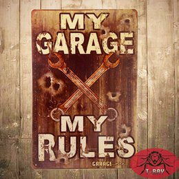 Wholesale T Ray My Garage My Rules sign Vintage style made from gauge metal with rusted corners for the Vintage Sign look