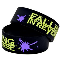 Wholesale 50PCS Lot Falling In Reverse Silicone Rubber Wristband 1 Inch Wide Ink Filled Colour Bracelet