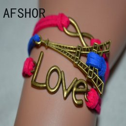 Build You Vintage Retro Karma Adjustable Charm Bracelets Bangles Red Blue Leather Suede Eiffel Tower LOVE Infinity Women Men Funky Jewelry