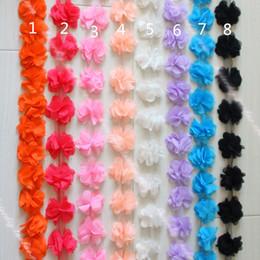 2017 cosiendo flores 3d 10 yardas Artesanía de la correa del cordón de la flor de la gasa de 3D Rose Cordón ancho de los bordes del cordón de los artes del cordón DIY de 6 colores Accesorios de las nociones de la costura