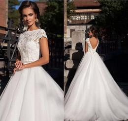 Bohemian Lace Top Wedding Dresses 2020 Vintage A Line Bridal Gowns Outdoor Backless Garden Country Wedding Bride Dress Custom Robe de mariée