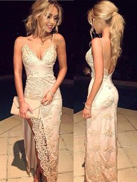 Sexy Spaghetti Straps Deep V Neck Sheath Lace Prom Dresses 2017 Light Champagne High Slit Backless Evening Gowns BA3397