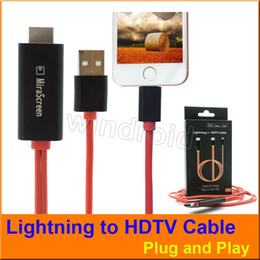 Wholesale Mirascreen Wire Lightning to HDMI HDTV AV USB OTA PLAY AND PLUG Digital Adapter Charger Cable Sync for iPhone IPAD M with retail package