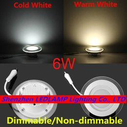 Promotion down light led 6w Vente en gros - Dimmable LED Plafonnier 6W Panneau en verre rond Down Light Warm / Cold White LED Indoor Light AC110V / AC220V