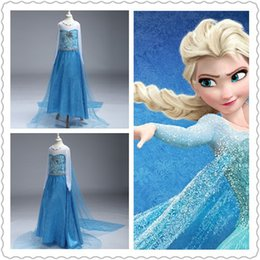 New Frozen Princesse Elsa Anna Robe à manches longues Long Cape Cloak Costume de fille habille le film Party cosplay Halloween snow princess Dress à partir de fabricateur