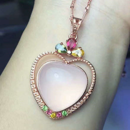 Wholesale Plating rose gold inlaid natural crystal powder heart shaped pendant rose gold necklace