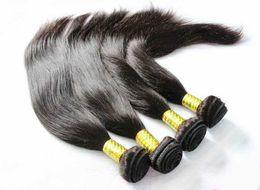 Acheter en ligne 18 black hair-Cheveux brésiliens Cheveux humains non transformés Tisser des extensions de cheveux vierges indigènes indiennes Straight 3 4 Bundles 7A Best Quality Natural Black
