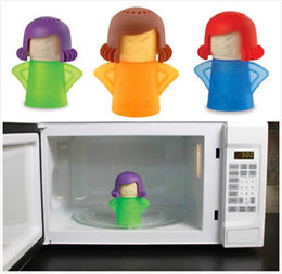 Wholesale 10 Cute Angry Mama Green Enviroment Friendly Kitchen Steam Microwave Cleaner SF Express