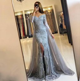 2017 Silver Front-Split Mermaid Evening Dresses Lace-Appliques Newest Sweetheart Long-Sleeve Prom Dresses with Detachable Train Prom Gowns