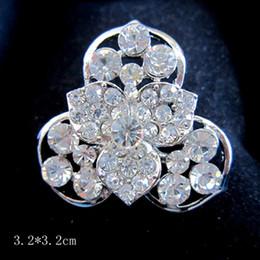 Silver Plated Clea Rhinestone Crystal Flower Brooch