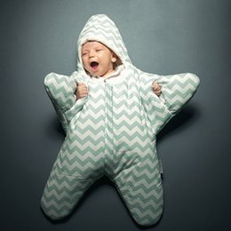 Wholesale Starfish 100% Cotton Baby Sleeping Bag Striped Children Swaddles Warm Baby Quilt(0-12 Momths)