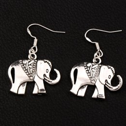 Royal Elephant Earrings 925 Silver Fish Ear Hook Dangle 30pairs lot Antique Silver Chandelier E1396 25x38mm