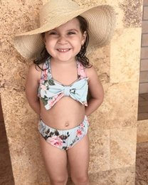 Wholesale INS hot Baby girl kids Summer clothes clothing piece set Rose floral Bikini Swimming suits Bow tops shorts pants Sets bathing suit
