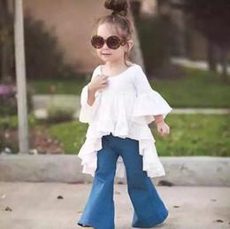 Wholesale 2017 nueva falda de hadas del falbala del xia del chun de la pequeña falda formal del traje arropa el vaquero del bebé del juego del vaquero falda hermosa pequeña