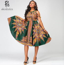 Shenbolen African Women Clothing Sexy Dashiki Sleeveless Backless Fashion A Line Dress African Tranditional Batik Print Bohemian Dress