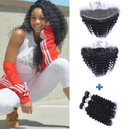Brazilian Deep Wave Human Hair Wefts with 13x4 Lace Frontal Ear to Ear Full Head Natural Color Can be Dyed Unprocessed Human Hair