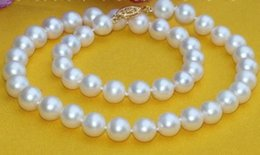 "18"" 9-10MM SOUTH SEA WHITE PEARL NECKLACE 14K YELLOW GOLD"