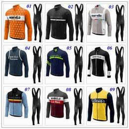 Pro invierno baberos de ciclismo en Línea-2017 Morvelo Invierno Termal Fleece Ropa Ciclismo Hombre manga larga Pro Cycling Jersey / bicicleta Bib Pantalones Largos Ropa de ciclismo