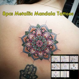 8pcs lot High Quality Gold And Colored Tattoos Non-toxic Temporary Waterproof Tattoos Hot Sale Sexy Metallic Mandala Tattoos! New Trending!