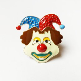 European and American hip-hop funny funny face clown drop glaze gold finger ring female face