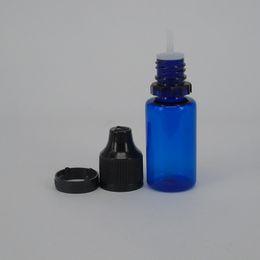 Bouteilles bleu cobalt gros en Ligne-Ecig liquide bouteille en plastique 10ml pet ejuice bouteille compte-gouttes avec aiguille pointe bleu cobalt plastique compte-goutte bouteille