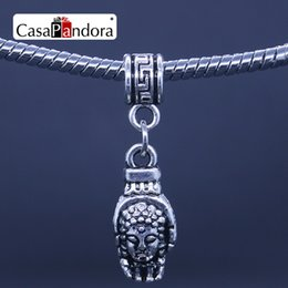 CasaPandora Silver-colored Buddha Bodhisattva Head Hamsa Hand Shape Pendant Fit Bracelet Charm DIY Bead Making Pingente Berloque Wholesale
