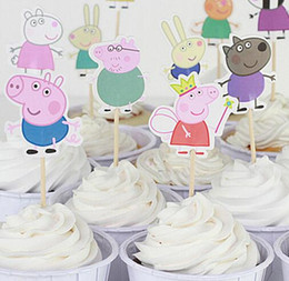 Wholesale Fashion Hot papa pig toppers picks cupcake topper baby shower supplies child kids birthday party cake baking party decoration