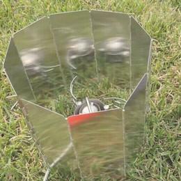Promotion plaque d'écran Camping Plaques en aluminium pliable Poêle BBQ Bouclier Vent 9 Peiece Plated Wind Screen B012