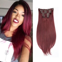 Big Sale Women Beauty Clip In On Human Hair Extensions 10pcs set 22clips Colored Straight Crochet Wholeasle Price #613 Blonde Red Wine