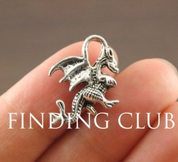 Wholesale Antique Silver Medieval Dragon Charm DIY Metal Bracelet Necklace Jewelry Findings A1117