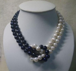 """18"""" 9-10MM TAHITIAN NATURAL WHITE BLACK PEARL NECKLACE 14K YELLOW GOLD CLASP"""